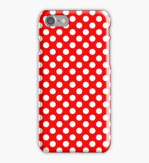 White on Red Polka Dots iPhone Case/Skin