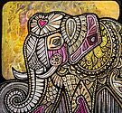 Gold Sky and Elephant by Lynnette Shelley