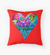 Red Floral Heart Designer Art Gifts Throw Pillow