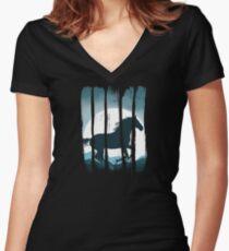 Beautiful Horse Galloping on Sand Scene Illustration Brushstroke I Women's Fitted V-Neck T-Shirt