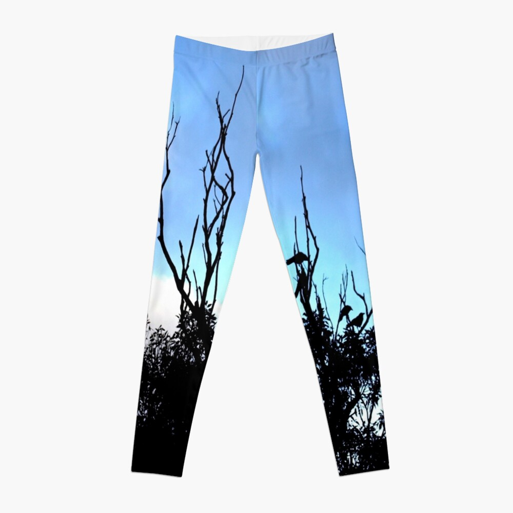 Birds Tree Sky Leggings Front