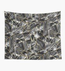 Black White Agate Black Gold Geometric Triangles Wall Tapestry