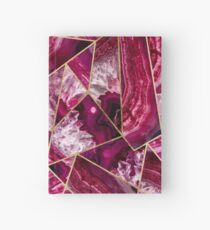 Pink Fuchsia White Agate Gold Geometric Triangles Hardcover Journal