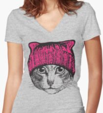 Pussyhat Protest Shirt - Women's March Pussycat Pink Hat Shirt Women's Fitted V-Neck T-Shirt