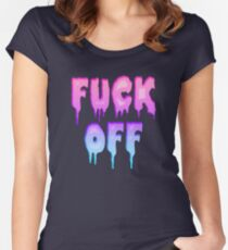Pastel Colors - FUCK OFF - Pastel Goth - Tee Shirt~ Women's Fitted Scoop T-Shirt