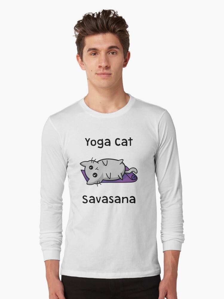 """Yoga Cat Savasana"" Long Sleeve T-Shirt by and89   Redbubble"