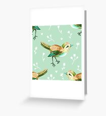 Chestnut Songbird Floral on Sage Green Greeting Card