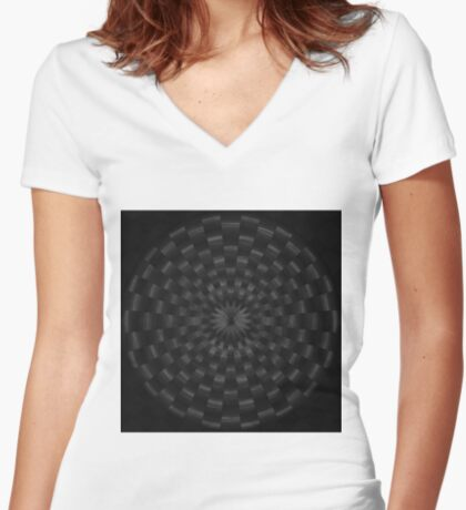 Circular Gray by Julie Everhart Fitted V-Neck T-Shirt