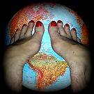 The World at Her Feet 2 Collectors Postcard by Pasha du Valentine by Pasha du Valentine