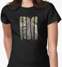 Beautiful Happy Sloth Hanging on the Tree Scene Illustration Brushstroke I Womens Fitted T-Shirt