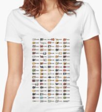 95 Pixel Guitars and Basses and a Keyboard Women's Fitted V-Neck T-Shirt