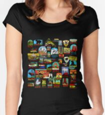 National Parks Vintage Travel Decal Bomb Women's Fitted Scoop T-Shirt