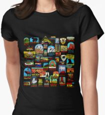 National Parks Vintage Travel Decal Bomb Womens Fitted T-Shirt