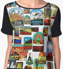 National Parks Vintage Travel Decal Bomb Chiffon Top