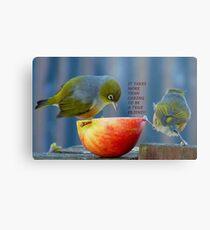 Friendship! - It Takes More Than Caring...Card - Silvereye - NZ Metal Print