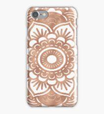 Rose gold mandala on white iPhone Case/Skin