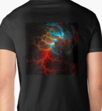 Realistic effect of electrical discharge on a black background Mens V-Neck T-Shirt