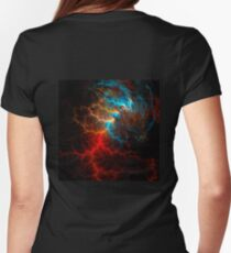 Realistic effect of electrical discharge on a black background Womens Fitted T-Shirt