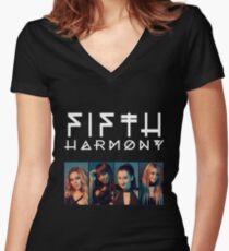 Fifth Harmony Portrait #WhiteText Women's Fitted V-Neck T-Shirt