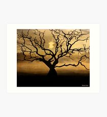 Tree in the Sunset Art Print