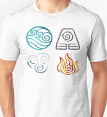 Avatar die letzten Airbender Element Symbole Unisex T-Shirt
