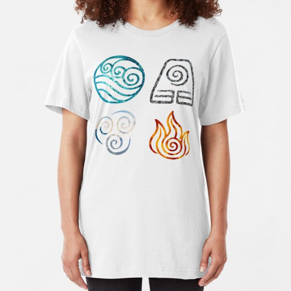 Avatar the Last Airbender Element Symbols Slim Fit T-Shirt