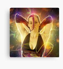 Digitally enhanced image of a 30 year old woman in black top Canvas Print