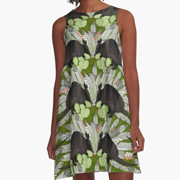 native armadillos green A-Line Dress
