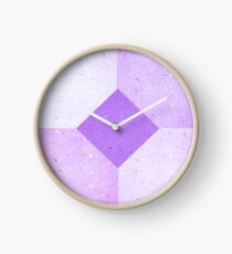 GEOMETRIC RETRO 1980s THROWBACK PURPLE PULP PATTERN Clock