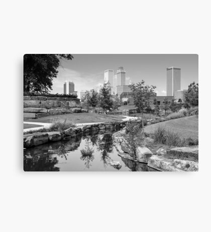 Centennial Park Tulsa Oklahoma Skyline - Black and White Canvas Print