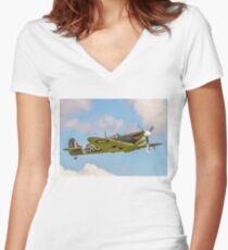 Supermarine Spitfire Ia AR213 G-AIST Women's Fitted V-Neck T-Shirt