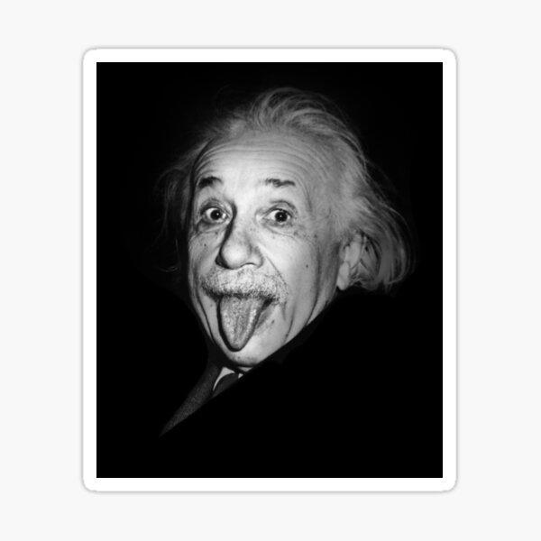 Albert Einstein Genius Tongue Funny Pegatina