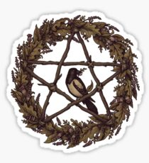 Botanical Pentacle Wreath Witch Sticker