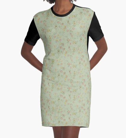 Vintage  Curls  in Sage  Graphic T-Shirt Dress