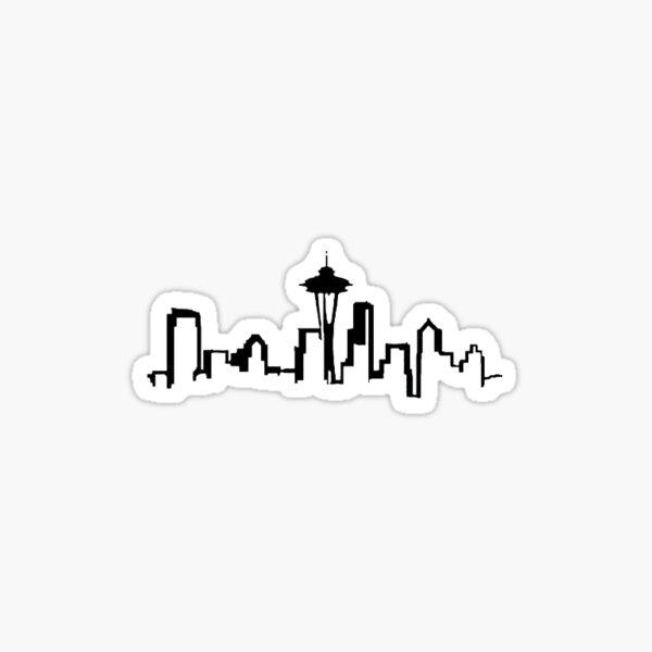 Seattle skyline black and white Sticker