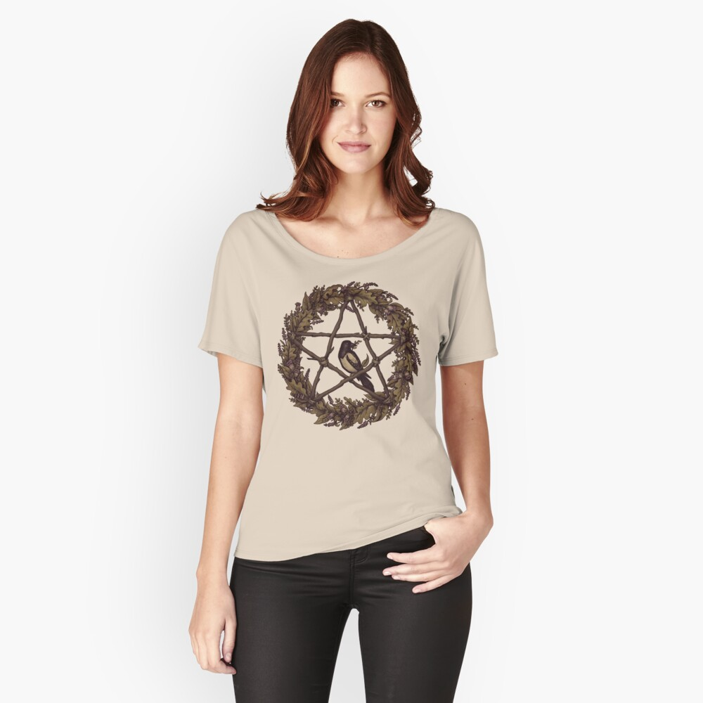 Botanical Pentacle Wreath Witch Women's Relaxed Fit T-Shirt Front