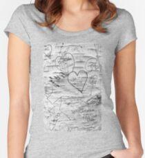Love Memories in Lover's Lane, Green Gables, black white Women's Fitted Scoop T-Shirt