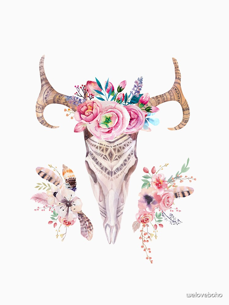Deer skull with feathers and flowers de weloveboho