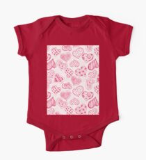 Pattern with red hearts One Piece - Short Sleeve