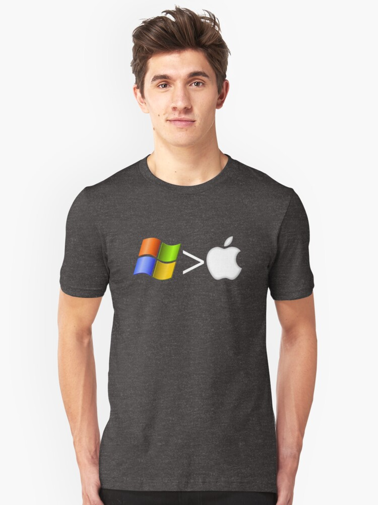 PC greater than Mac Unisex T-Shirt Front