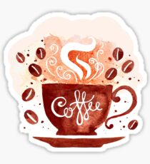 Coffee Cup and Beans Watercolor Design Sticker