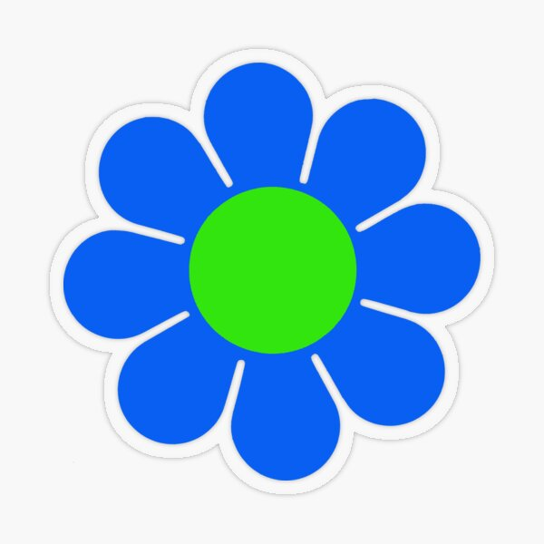 Blue Green Hippy Flower Daisy Transparent Sticker