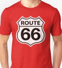 ROUTE 66 ROAD SIGN RED Slim Fit T-Shirt