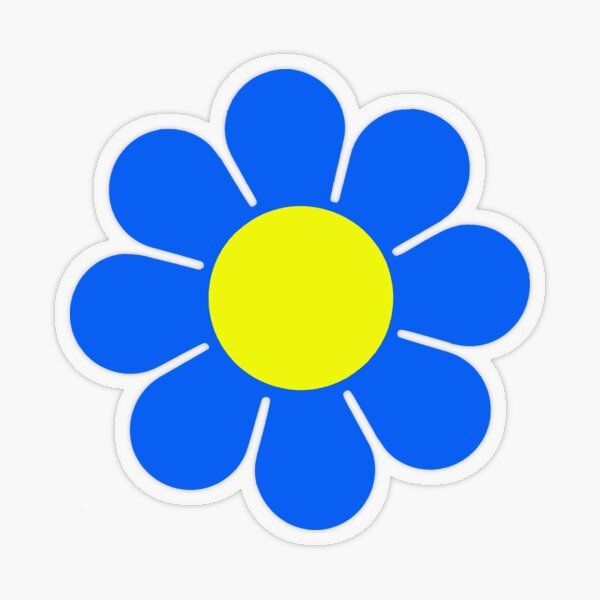 Blue Yellow Hippy Flower Daisy Transparent Sticker