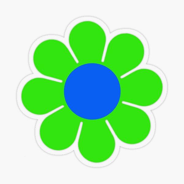 Green Blue Hippy Flower Daisy Transparent Sticker