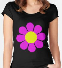 Pink Yellow Hippy Flower Daisy Women's Fitted Scoop T-Shirt