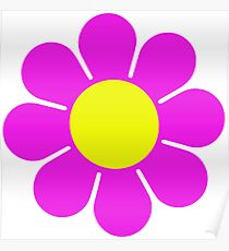Pink Yellow Hippy Flower Daisy Poster