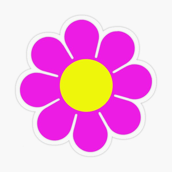 Pink Yellow Hippy Flower Daisy Transparent Sticker