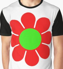 Red Green Hippy Flower Daisy Graphic T-Shirt
