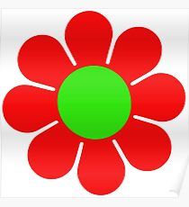 Red Green Hippy Flower Daisy Poster